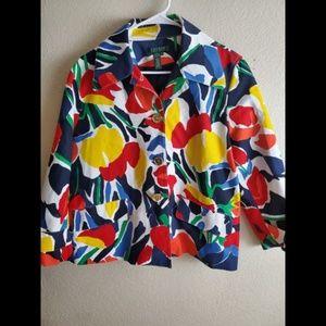 Lauren Ralph Lauren Button Floral Colorful Blazer